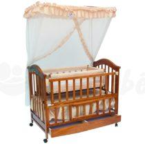 Lit Bébé à barreaux en Bois Marron Avec Matelas