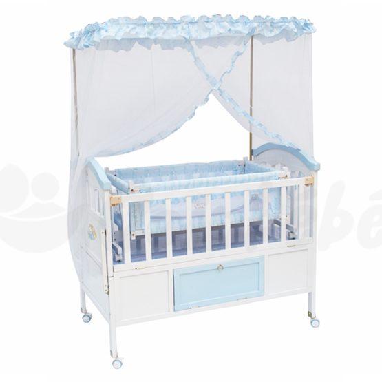 Lit Bébé à Barreaux en Bois avec tiroir 56 x 115 cm – Avec Matelas
