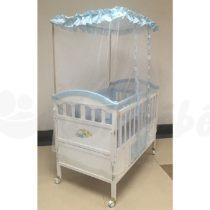 Lit Bébé à Barreaux en Bois avec tiroir 56 x 115 cm – Avec Matelas – Bleu