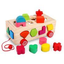 Trieuse de forme et de couleur de cube d'activité en bois