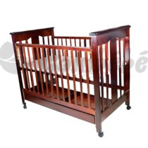 Lit en bois à barreaux marron 130 x 70cm Avec Matelas