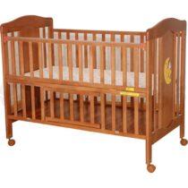 Lit à barreaux en bois 120×60 avec matelas bebe – Marron