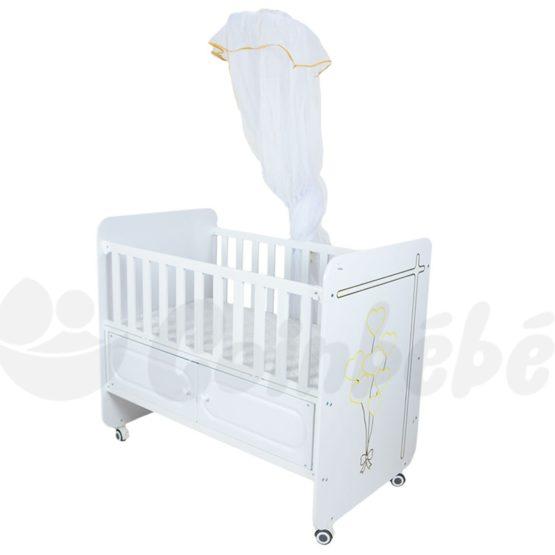Lit bébé à Barreaux Blanc 120×60 Avec Matelas
